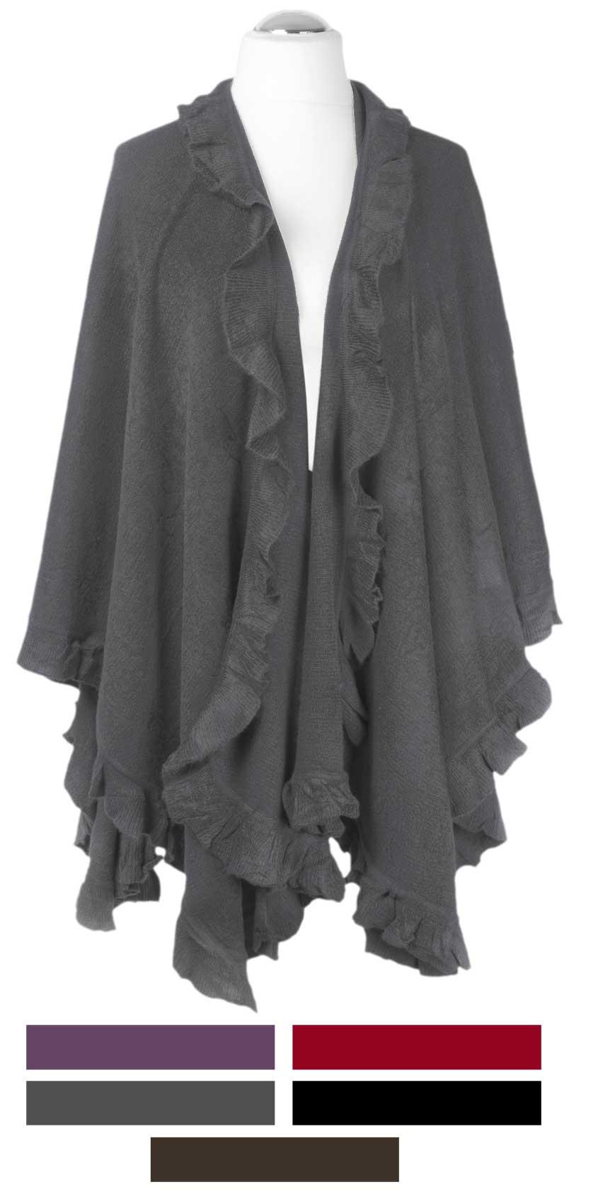 strick poncho cape berwurf schwarz grau braun lila rot ebay. Black Bedroom Furniture Sets. Home Design Ideas